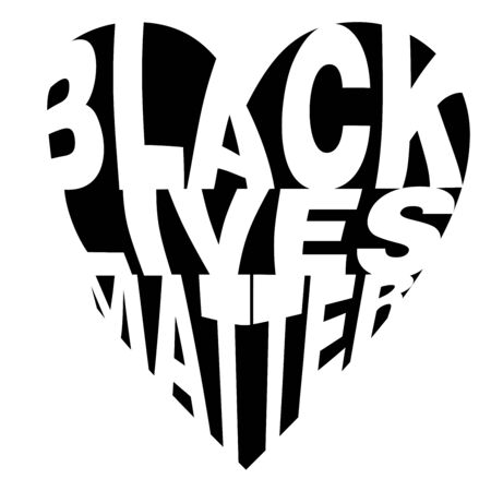 Poster design on Black Lives Matter in heart shaped word cloud typography design style on an isolated white background Ilustração