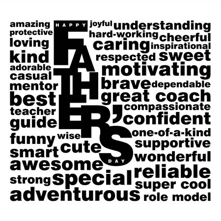A black and white vector typographic poster with a tag cloud on Happy Father's Day