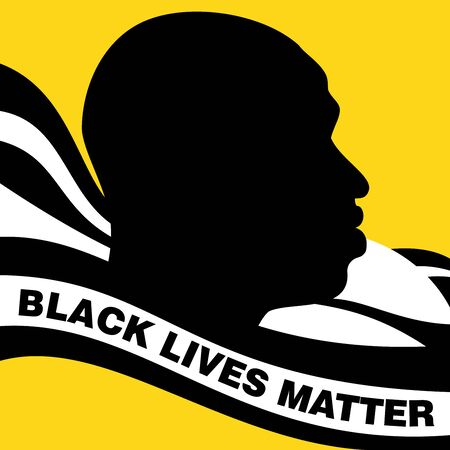 Vector illustration of George Floyd in profile view with a caption black lives matter on the foreground