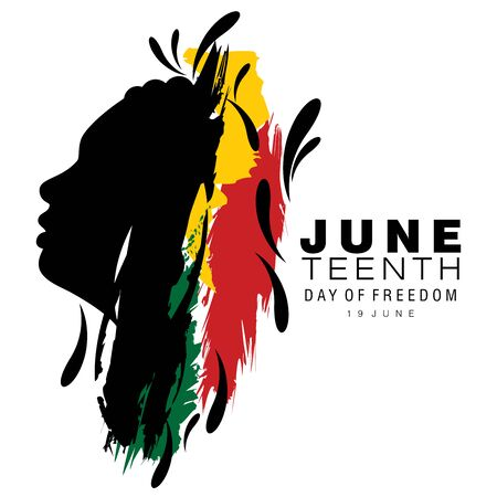 Abstract vector illustration of a black face with cornrow hairstyle on brush strokes with the text Day of Freedom for Juneteenth or Afro-American Freedom day