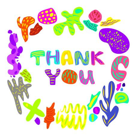 Vector illustration on Thank You with minimalist design elements in neon colors on an isolated white background