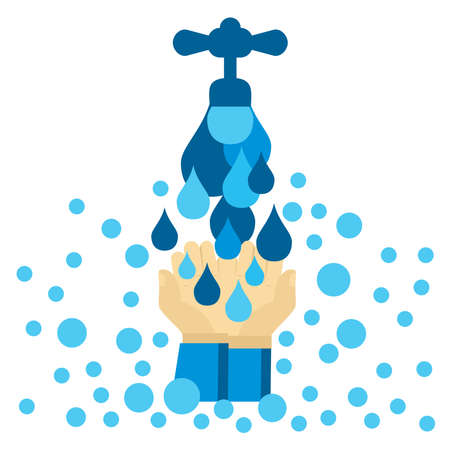 Vector illustration of a faucet and running water splashed on cupped hands for Global Hand washing Day Vectores