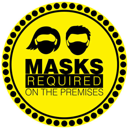 Vector illustration of Warning or Caution sign to Wear a Mask on a black and yellow circular border signage to avoid Covid 19 or Coronavirus