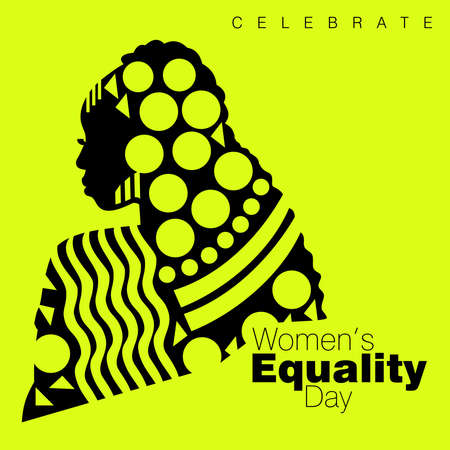 An abstract vector illustration of a single African American woman with curly long hairstyle in three quarter profile view on a neon color isolated background for Women's Equality Day Ilustração