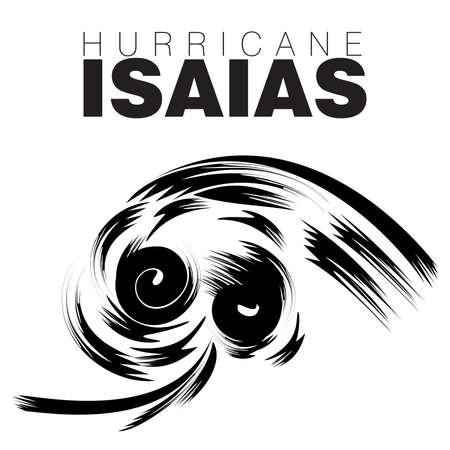 An abstract vector illustration on Hurricane Isaias in black color on an isolated white background Ilustracja