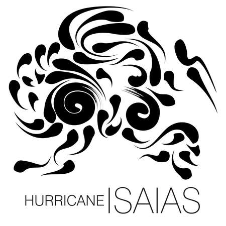 An abstract vector illustration on Hurricane Isaias in black color on an isolated white background 矢量图像