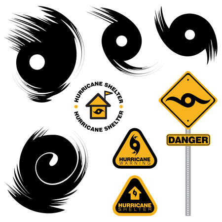 Set of symbols and warning signs on Hurricane on an isolated white background