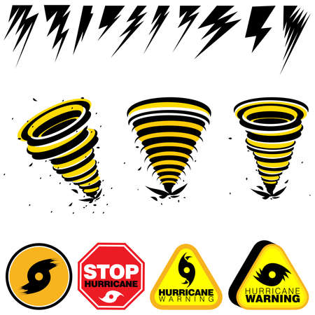 Set of lightning bolts and hurricane warning signs on an isolated white background 向量圖像