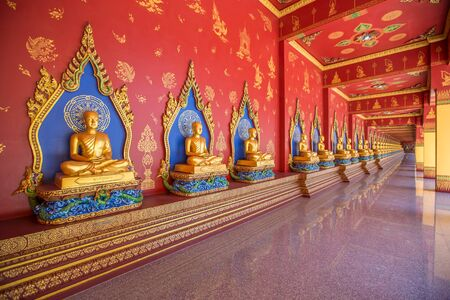 Wat Maha That Wachiramongkol (Wat Bang Thong) is a famous temple in Krabi Province, Thailand. It is a beautiful Buddhist temple. And a lot Visitors come to visit the temple. Artistic picture. Beauty world.