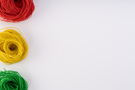 Rope, Colorful rubber rope. Twisted rope beautifully on a white background.