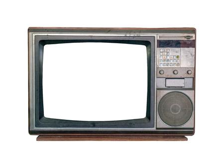 vintage television on white background