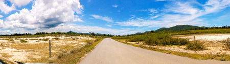 panorama landscape roadway with blue sky background