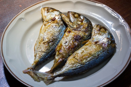 Trio fried Mackerel in the plate Stock Photo - 21957017