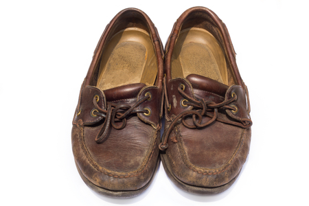 moccasin: boat shoes or top-siders, isolated on white  Stock Photo