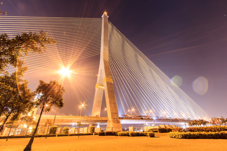 viii: The Rama VIII bridge at night in Bangkok, Thailand