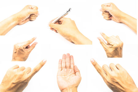 Collage of men hands on white backgrounds photo