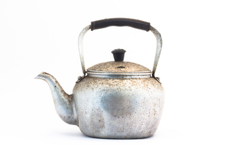 Small classic kettle for camping isolated on white background photo
