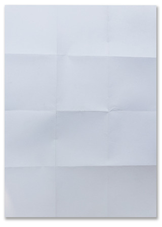 white textured paper: white textured sheet of paper folded in sixteen isolated on white Stock Photo