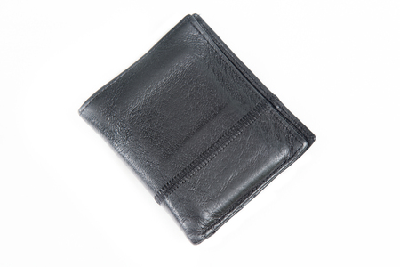 black leather: A black leather wallet for money isolated on white background