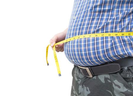 man measurement: Fat man holding a measurement tape