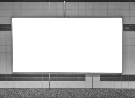 mocked: Blank Horizontal big poster in subway station , black and white tone