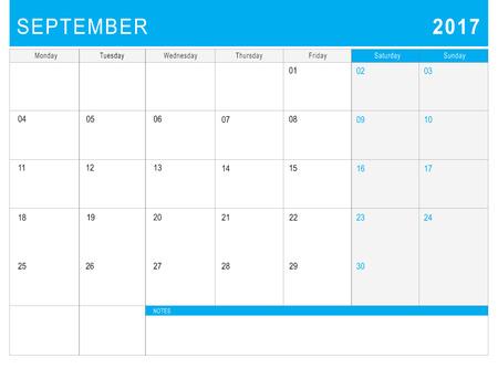 september calendar: 2017 September calendar (or desk planner) with notes