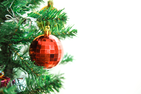 decorated tree: Christmas background and decorated tree isolated on white background.