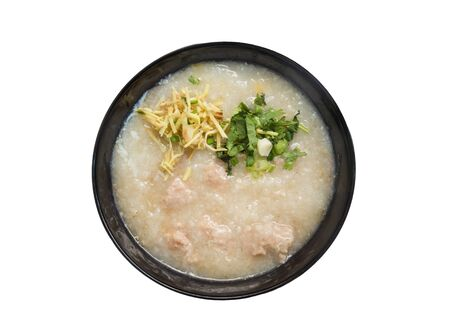Congee, Rice porridge, Rice gruel, Rice soup isolted on white background.