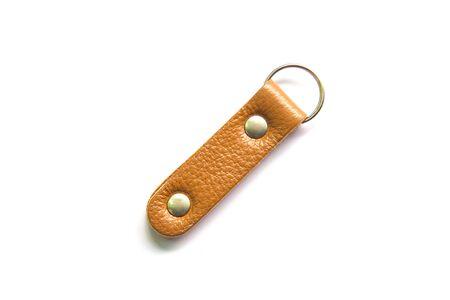 Key ring leather isolated on white background. Stock Photo