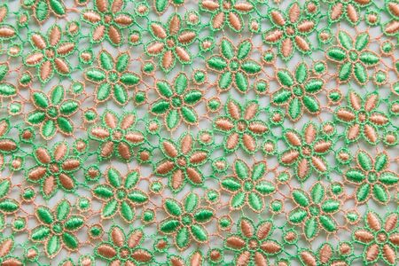 Green lace on white background. No any trademark or restrict matter in this photo. Stock Photo