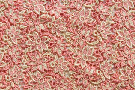 Pink lace on white background. No any trademark or restrict matter in this photo.