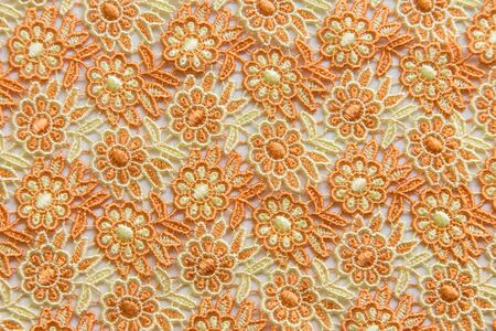 Orange lace on white background. No any trademark or restrict matter in this photo.