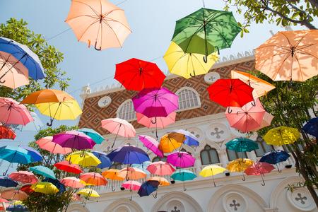 Colorful umbrellas background. Street decoration.