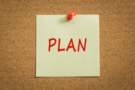 pin board: Note paper with a text PLAN and red push pin on cork board. Stock Photo