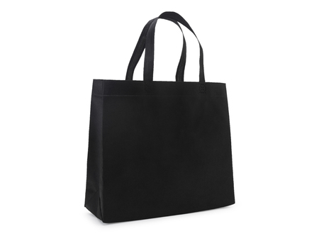 blank black fabric canvas bag isolated on white background with clipping path, eco concept.