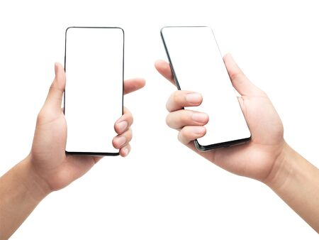 Set of male hand holding the black smartphone with blank screen isolated on white background