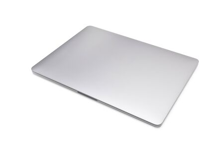 Closed laptop isolated on white background with clipping path.