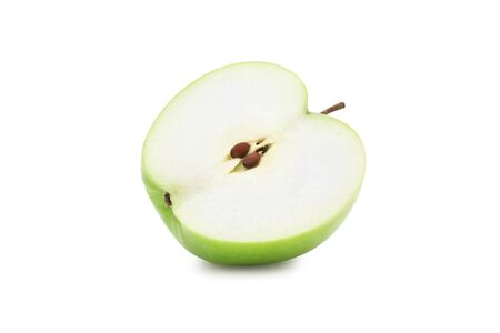 Half green apple isolated on white background