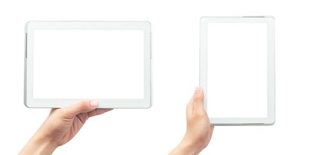 Male hand holding the white tablet pc computer with blank screen isolated on white background Archivio Fotografico