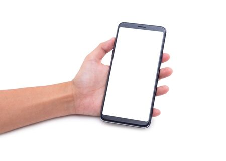 Woman hand holding the black smartphone with blank screen isolated on white background