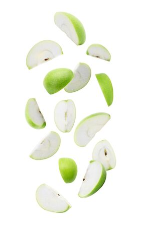 Slice ripe green apple falling isolated on white background Zdjęcie Seryjne - 150279041