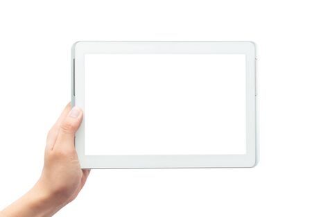 Male hand holding the white tablet pc computer with blank screen isolated on white background Zdjęcie Seryjne - 150279047