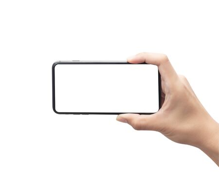 Male hand holding the black smartphone with blank screen isolated on white background Zdjęcie Seryjne - 150279051