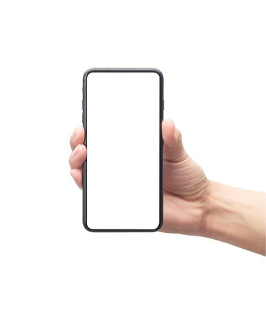 Male hand holding the black smartphone with blank screen isolated on white background