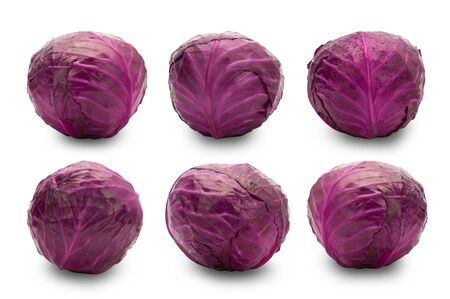 Set of whole red cabbage isolated on white background Zdjęcie Seryjne - 150279152