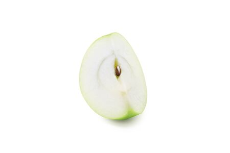 Slice green apple isolated on white background