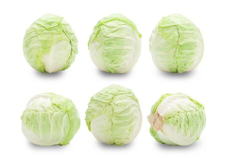 Set of whole green cabbage isolated on white background 版權商用圖片 - 150279205