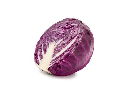 Half red cabbage and half isolated on white background