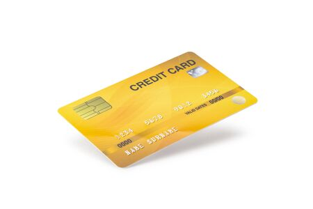 Yellow Credit Card isolated on white background Zdjęcie Seryjne - 150279211