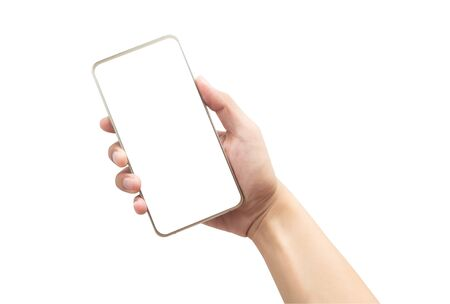 Male hand holding the gold smartphone with blank screen isolated on white background